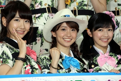 柏木由紀/Yuki Kashiwagi, 大島優子/Yuko Oshima and 渡辺麻友/Mayu Watanabe(AKB48), Jun 10, 2013 : 「お台場合衆国2013」の制作発表会=2013年6月10日撮影