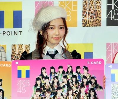 島崎遥香/Haruka Shimazaki(AKB48), Jan 22, 2015 : 「AKB48グループ×Tカード」発表会見に登場したAKB48の島崎遥香さん=2015年1月22日撮影