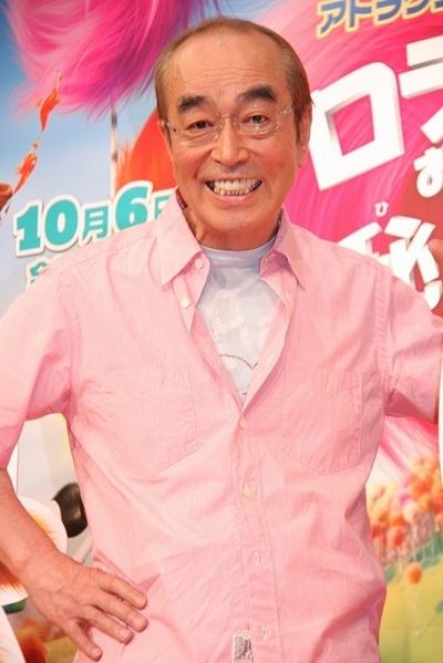志村けん/Ken Shimura, Jun 12, 2012 : 3Dアニメ「ロラックスおじさんの秘密の種」の公開アフレコを行った志村けんさん=2012年6月12日撮影