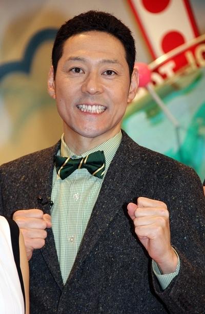 東野幸治/Koji Higashino, Apr 03, 2015 : 情報バラエティー番組「世界HOTジャーナル」の会見=2015年4月3日撮影