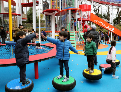 November 23, 2016, Tokyo, Japan - Pupils play on the equipments at the Children's Forest playground at the Toshimaen amusement park in Tokyo on Wednesday, November 23, 2016. Toshimaen celebrated its 90th anniversary and opens two new facilities, one is the Children's Forest.   (Photo by Yoshio Tsunoda/AFLO) LWX -ytd-