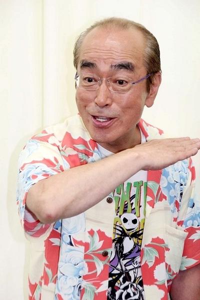 志村けん/Ken Shimura, May 30, 2013 : 舞台「志村魂」の会見で健康不安説を得意のギャグで笑い飛ばす志村けんさん=2013年5月30日撮影