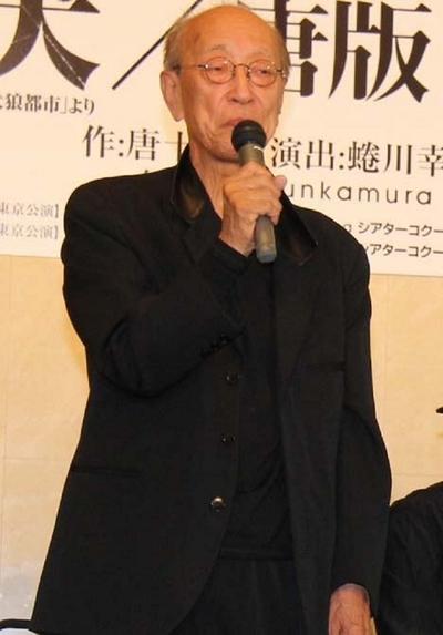 蜷川幸雄/Yukio Ninagawa, May 09, 2013 : 舞台「盲導犬」「唐版 滝の白糸」の合同制作発表=2013年5月9日撮影