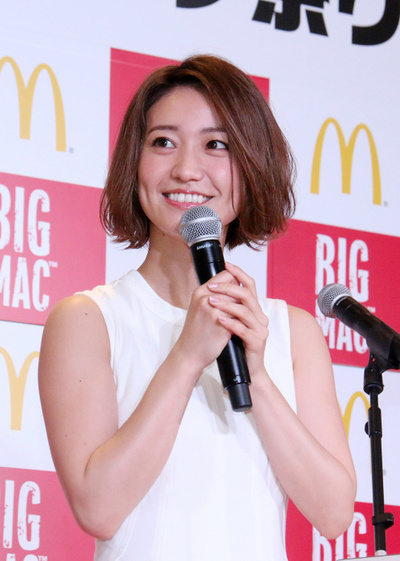 大島優子, May 31, 2017 : マクドナルド「ビッグマック祭り」キャンペーン発表会に登場した大島優子さん=2017年5月31日撮影