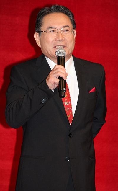 前田吟/Gin Maeda, May 13, 2013 : 映画最新作「R100」(松本人志監督)の発表会見=2013年5月13日撮影